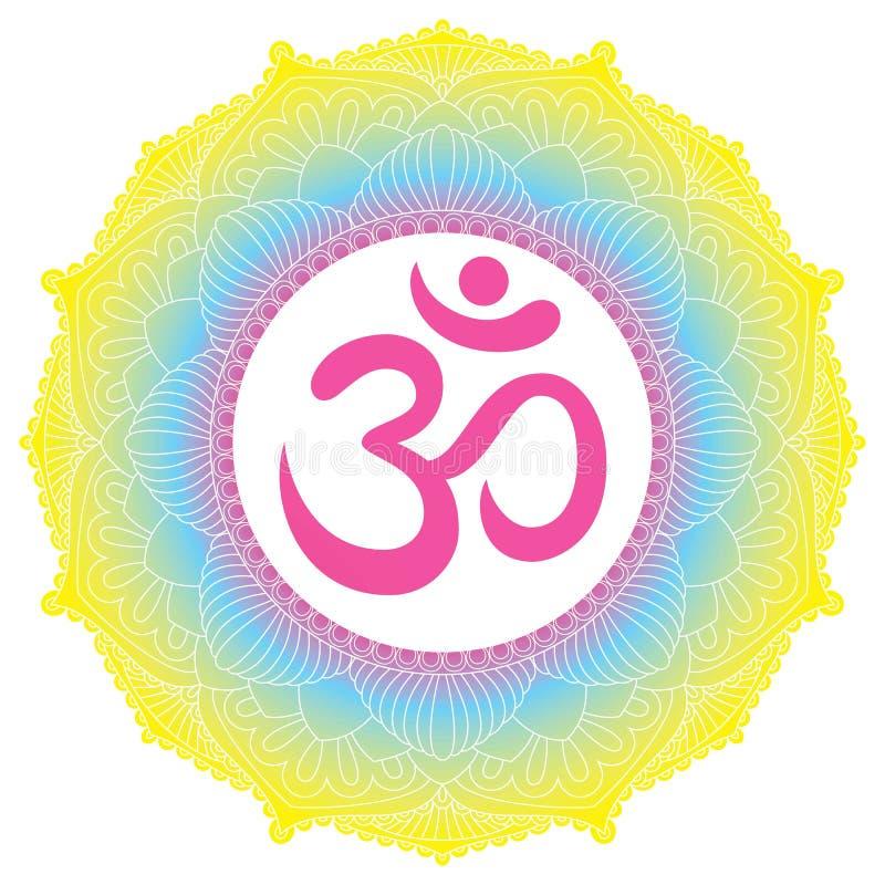 Ornamento della mandala con il simbolo del OM Aum Elementi decorativi dell'annata illustrazione di stock