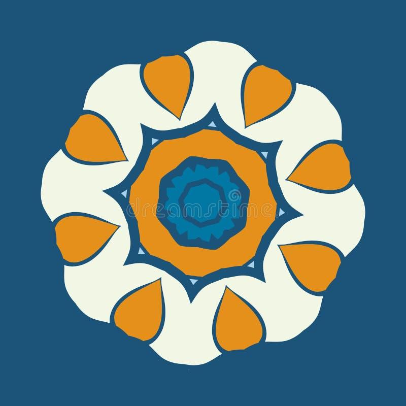 Ornamento della mandala sopra fondo blu Ornamento rotondo decorativo per la terapia di coloritura di anti-sforzo Progettazione de illustrazione di stock