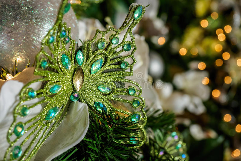 Ornamento di Natale della farfalla fotografia stock