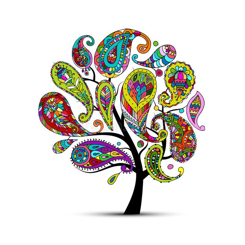 Ornamento di Paisley, albero di arte, schizzo per la vostra progettazione royalty illustrazione gratis