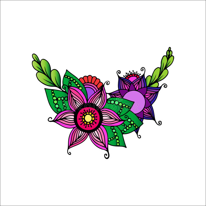 Ornamento dibujado mano con las flores imágenes de archivo libres de regalías