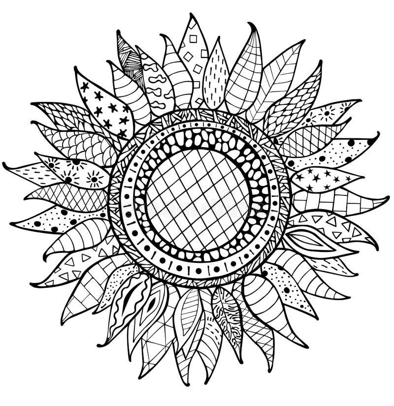 Ornamento Dibujado Mano De Los Girasoles Del Zentangle Para El Libro ...