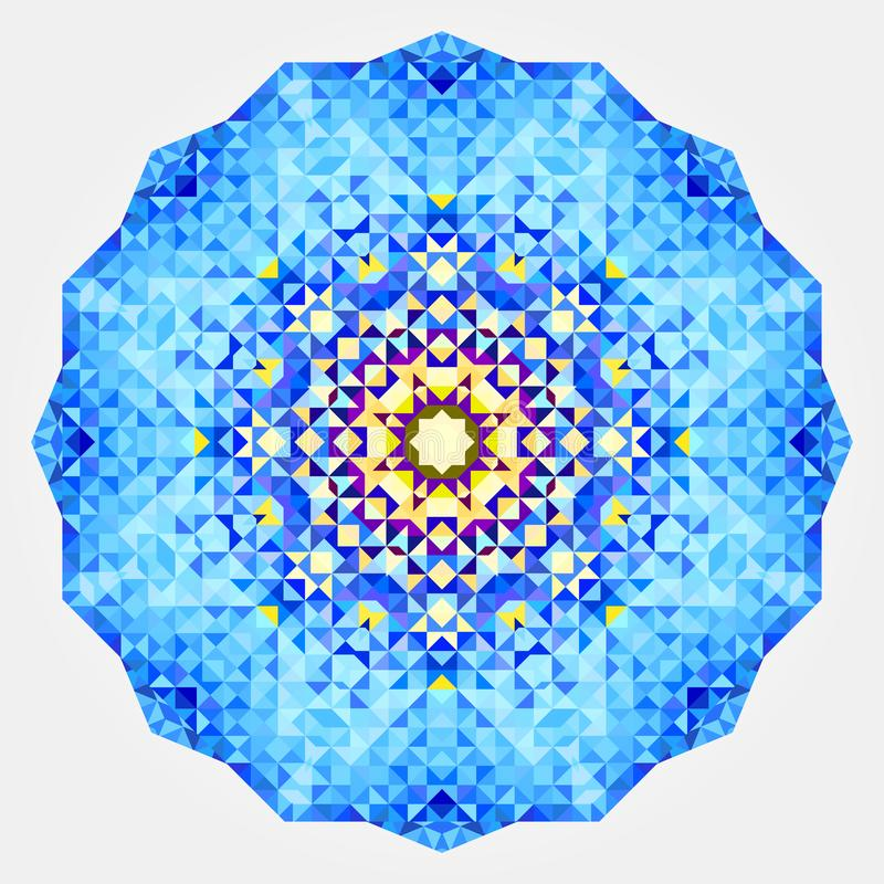 Ornamento digital simétrico redondo Mandala amarilla azul abstracta stock de ilustración