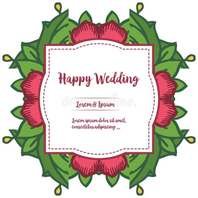 Ornamento do casamento feliz do cartão, da beira das flores e da folha verde ornamentado Vetor ilustração royalty free