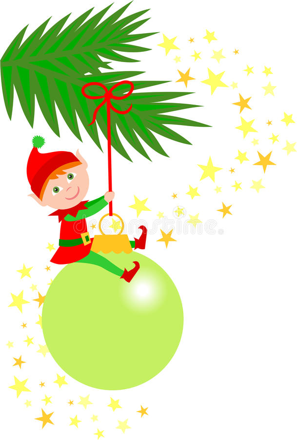 Ornamento do duende do Natal ilustração do vetor