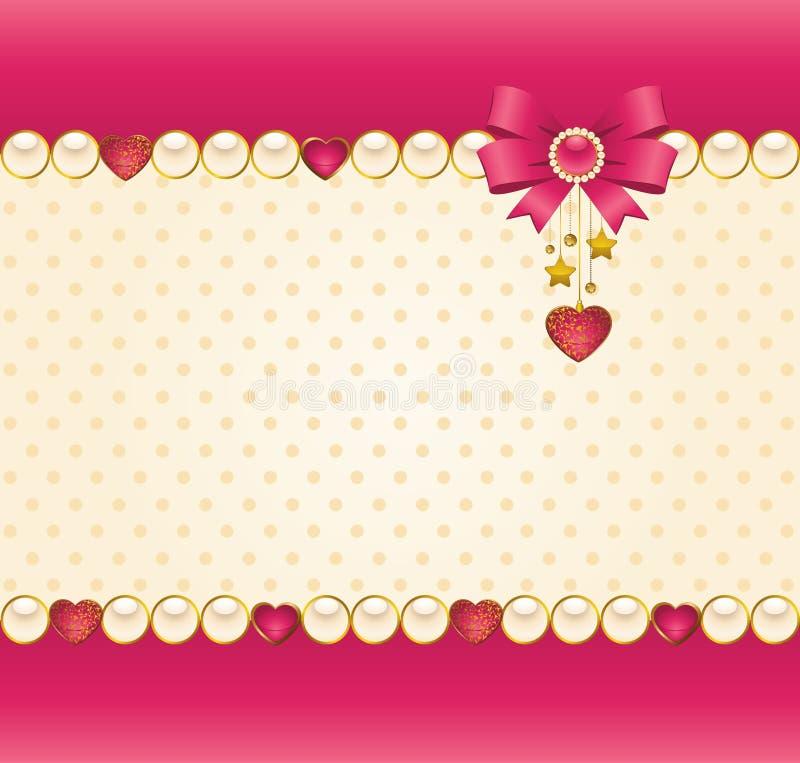 Ornamento do laço e coração e curva ilustração do vetor