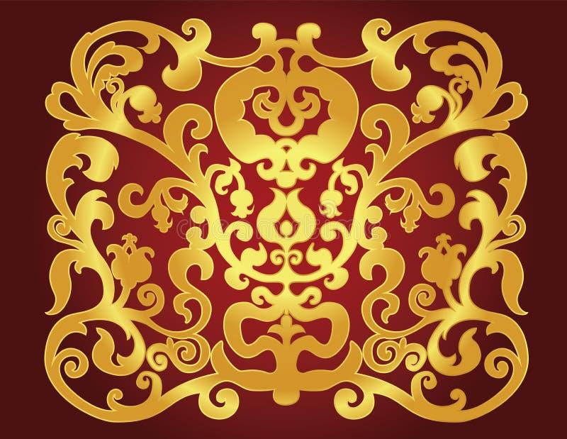 Ornamento do leste do ouro em um fundo do clarete ilustração royalty free