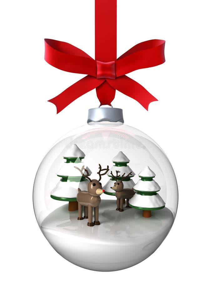 Ornamento do Natal com rena ilustração do vetor