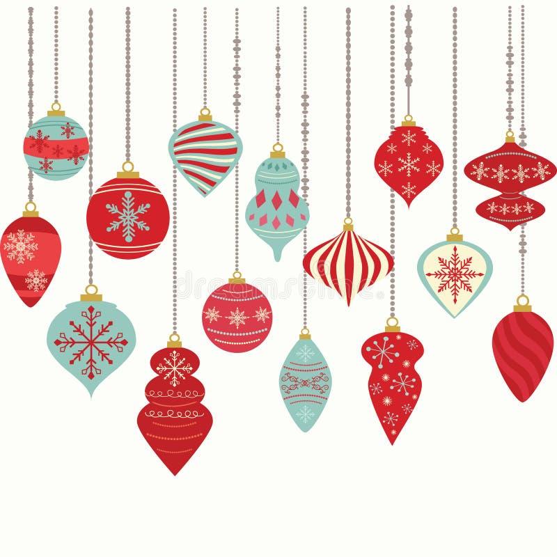 Ornamento do Natal, decorações das bolas do Natal, grupo de suspensão da decoração do Natal ilustração royalty free