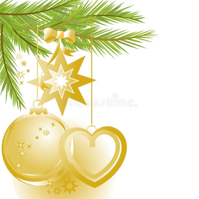 Ornamento do Natal e árvore de pinho dourados ilustração stock