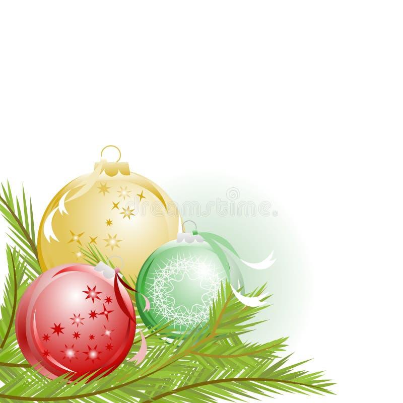 Ornamento do Natal e galhos do pinho ilustração royalty free