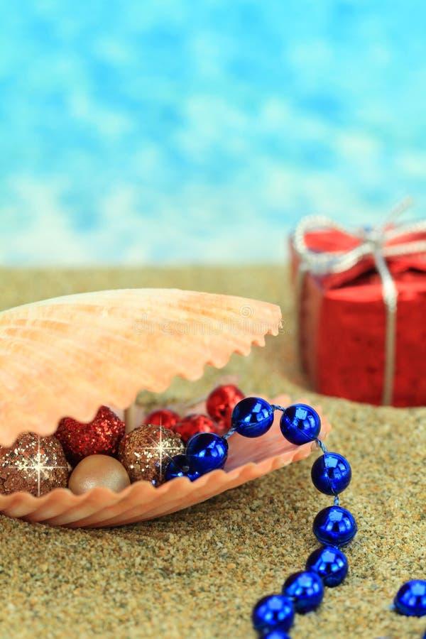 Ornamento do Natal em um escudo do mar imagens de stock royalty free