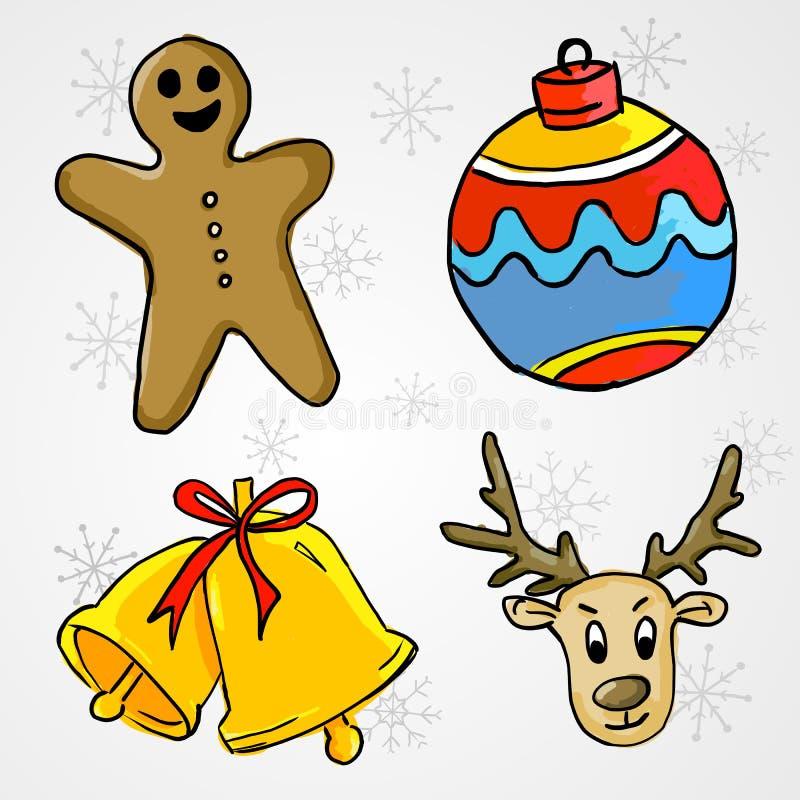Ornamento do Natal 4 - Ginger Bread, quinquilharia, Bell e cervo ilustração royalty free