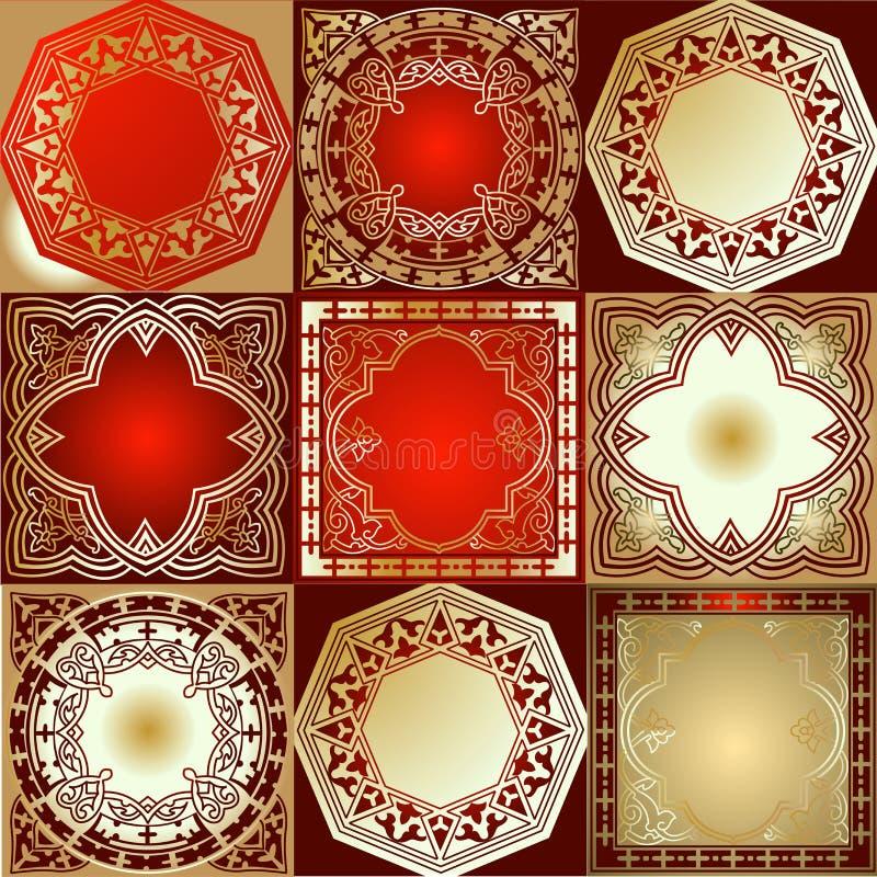 Ornamento do quadrilátero do ouro vermelho vário ilustração stock
