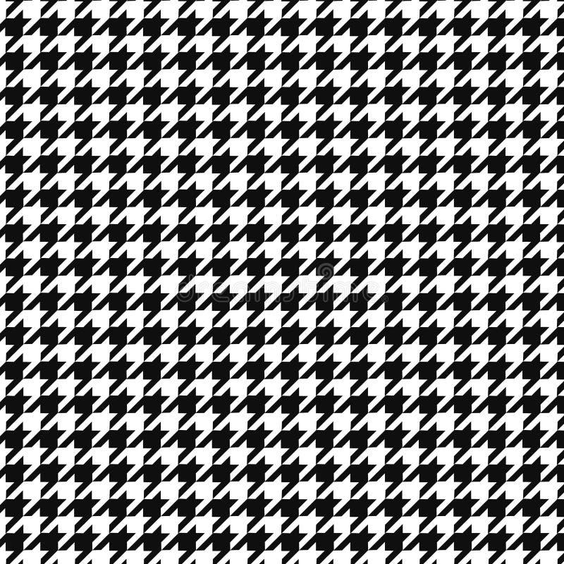 Ornamento do teste padrão do vetor do dente de cães Cópia geométrica na cor preto e branco Manta inglesa clássica do vale do fund ilustração royalty free