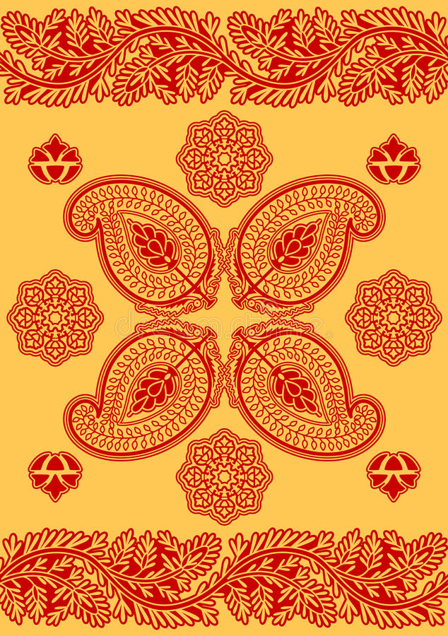 Ornamento do vermelho indiano ilustração stock