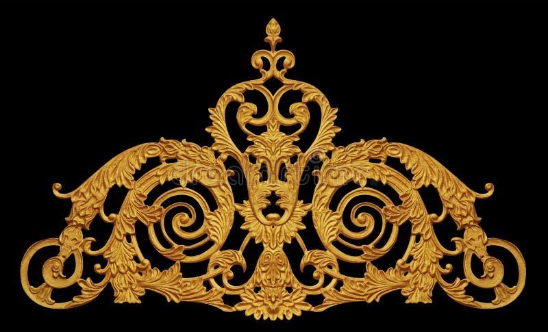 Ornamento do vintage chapeado ouro floral imagem de stock