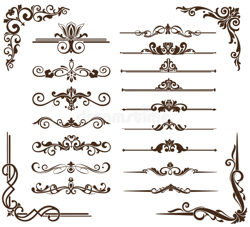 Ornamento do vintage do vetor, cantos, beiras ilustração royalty free