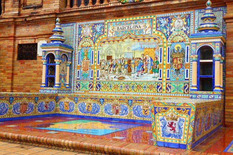 Ornamento dos azulejos de Barcelona foto de stock royalty free