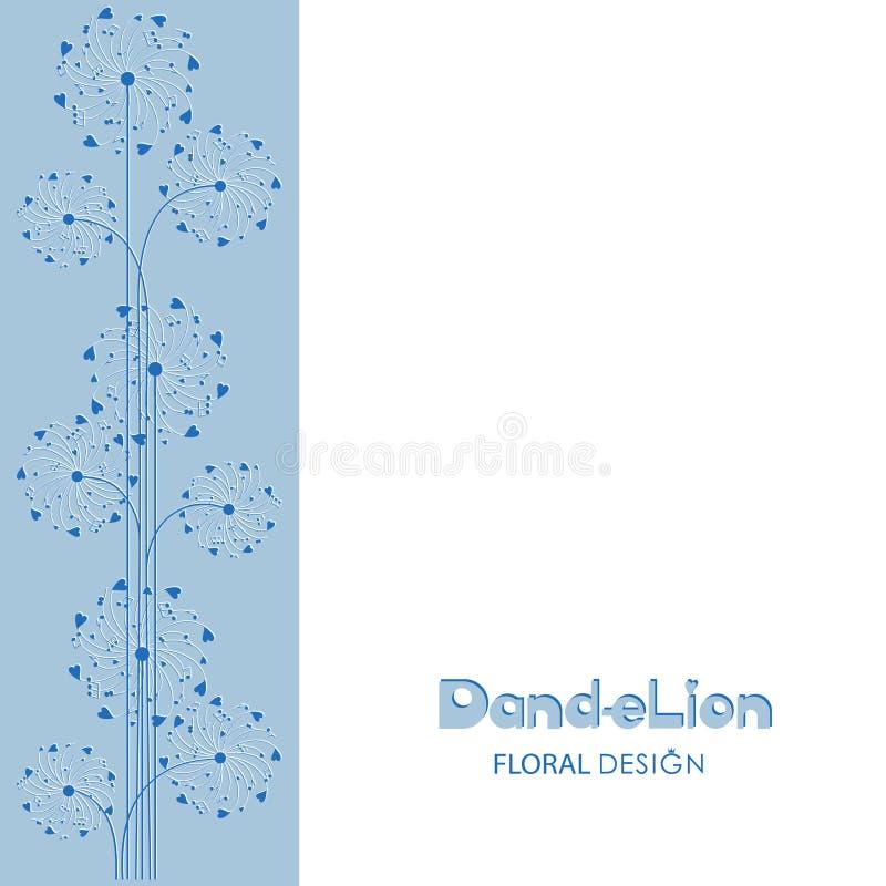 Ornamento dos dentes-de-leão em uma luz - fundo azul ilustração royalty free