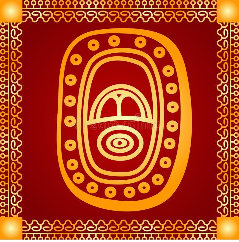 Ornamento dourado de indianos, do asteca e do Maya americanos ilustração do vetor
