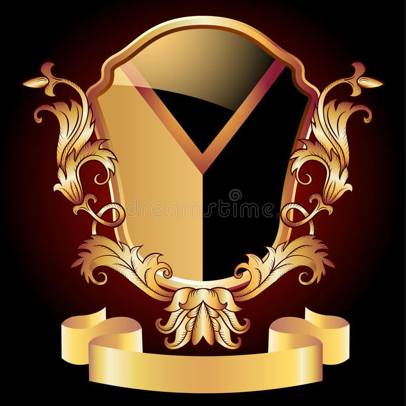Ornamento dourado ornamentado do protetor heráldico ilustração royalty free