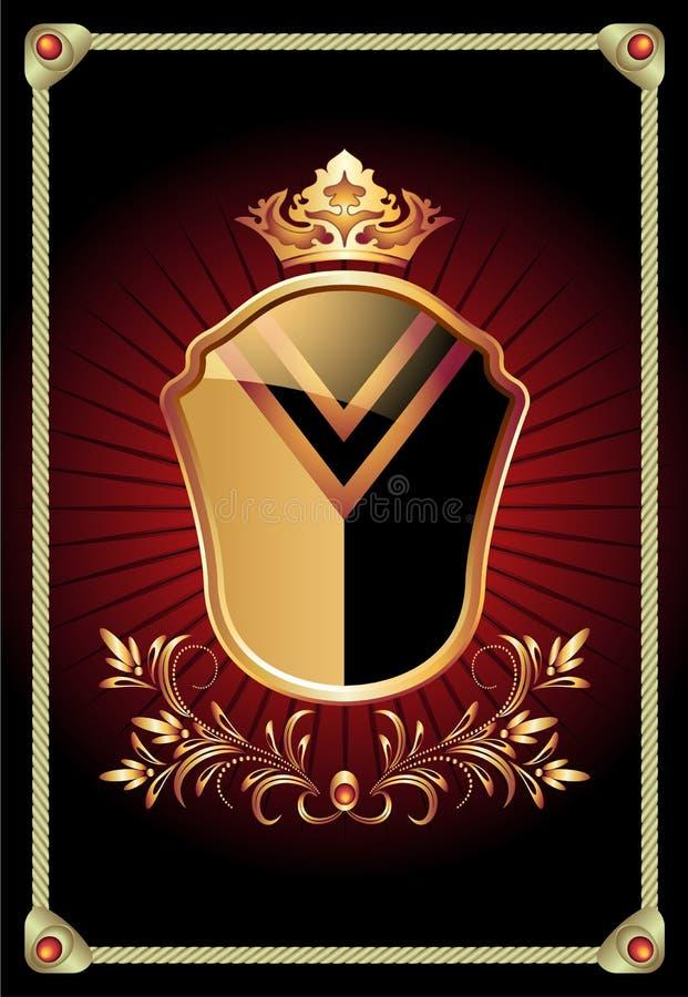 Ornamento dourado ornamentado do protetor heráldico ilustração do vetor