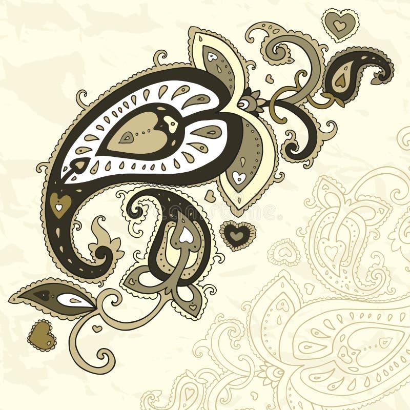 Ornamento drenado mano de Paisley. ilustración del vector