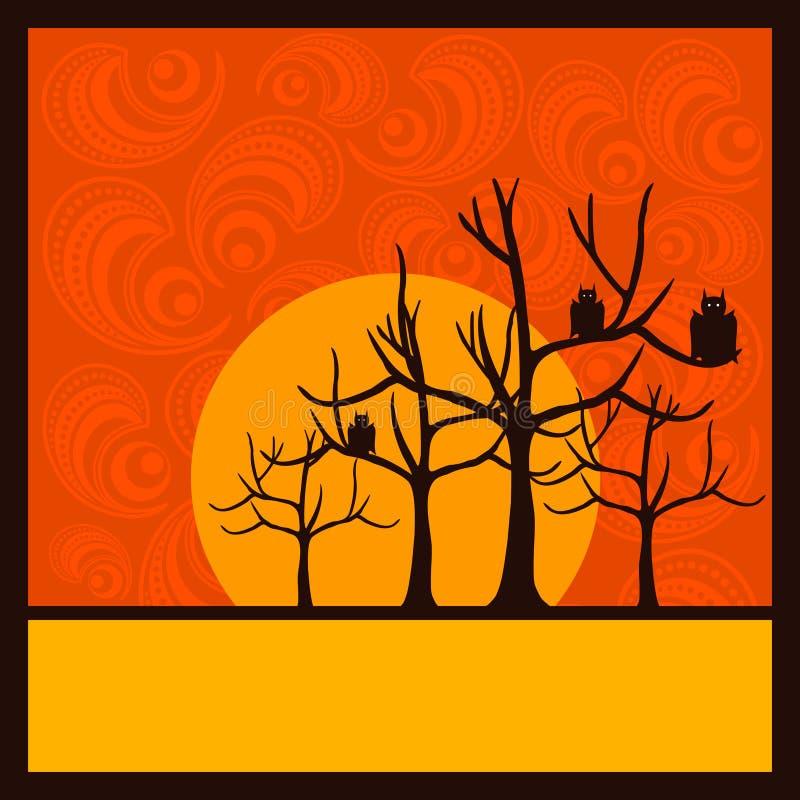 Ornamento e árvores do fundo de Halloween ilustração stock