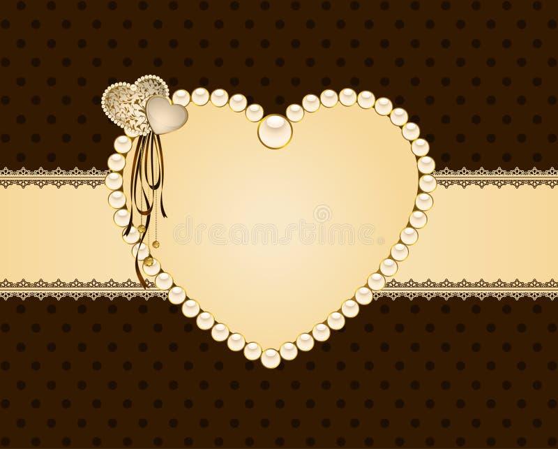 ornamento e coração do laço ilustração stock