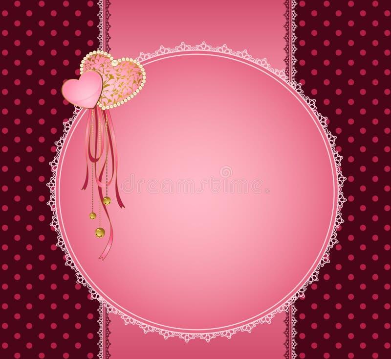 Ornamento e coração do laço ilustração do vetor