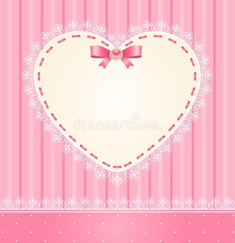 Ornamento e coração do laço ilustração royalty free
