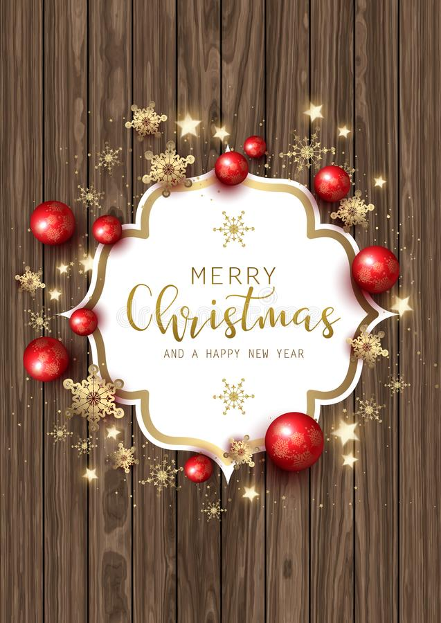 Ornamento e flocos de neve do Natal na textura de madeira ilustração stock