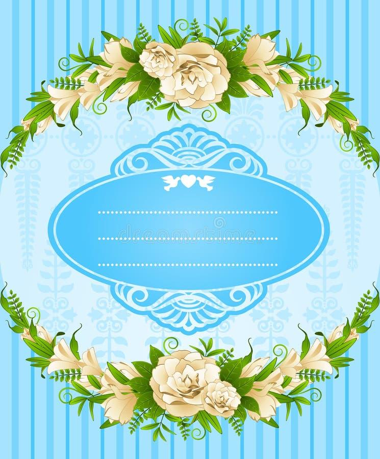 Ornamento e flores do laço. ilustração do vetor