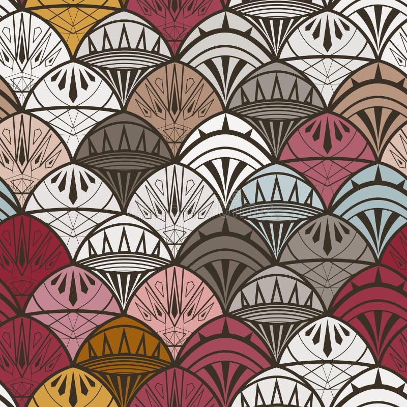 Ornamento en el estilo del art déco, ornamento en escalas diversos colores ilustración del vector