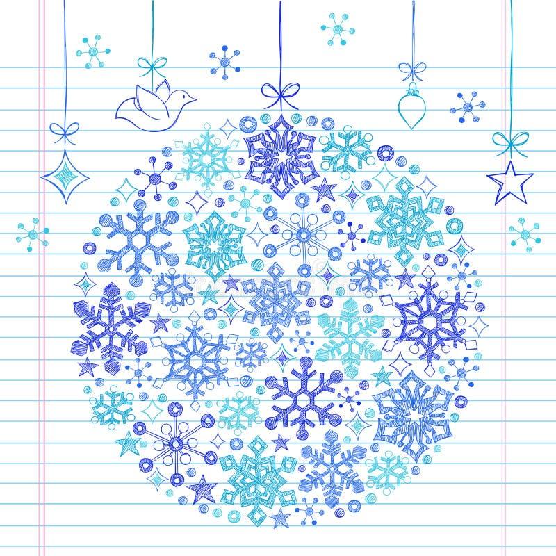 Ornamento esboçado Hand-Drawn do floco de neve do Doodle ilustração do vetor