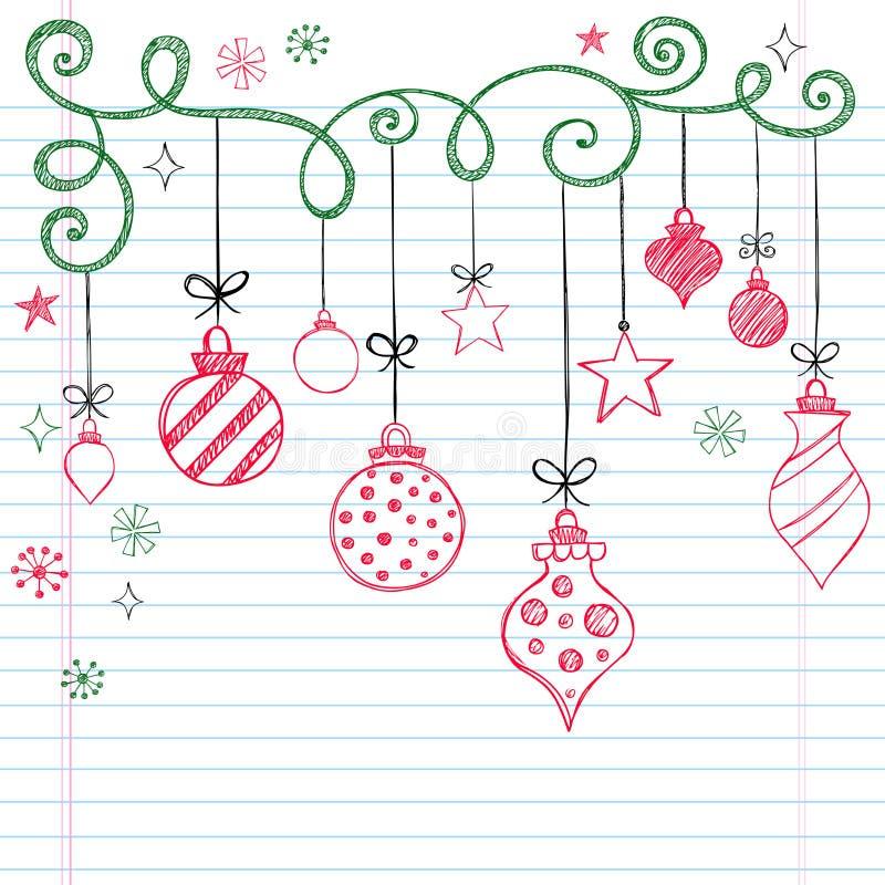 Ornamento esboçado Hand-Drawn do Natal do Doodle ilustração do vetor