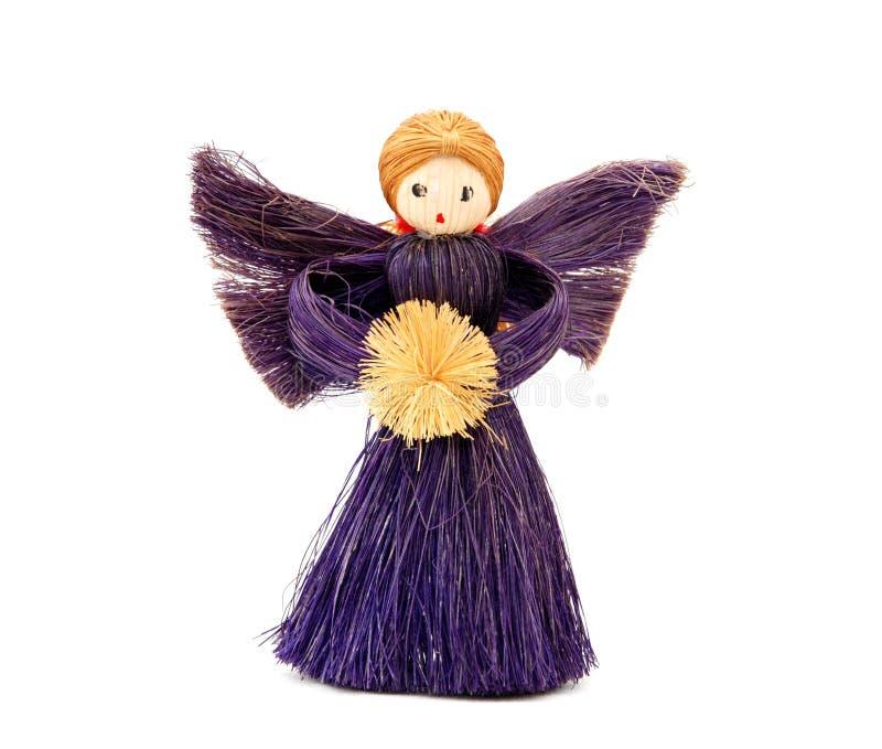 Ornamento fatto a mano di angelo di Natale della paglia fotografia stock
