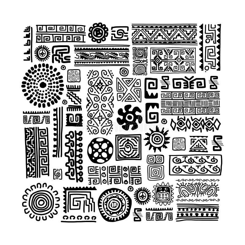 Ornamento fatto a mano etnico per la vostra progettazione royalty illustrazione gratis