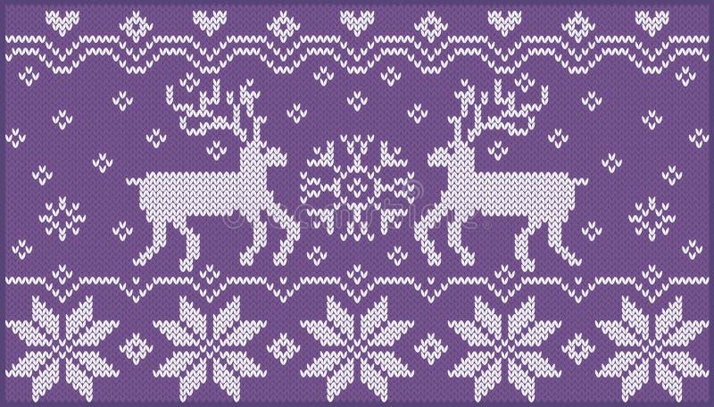 Ornamento feito malha com deers ilustração royalty free
