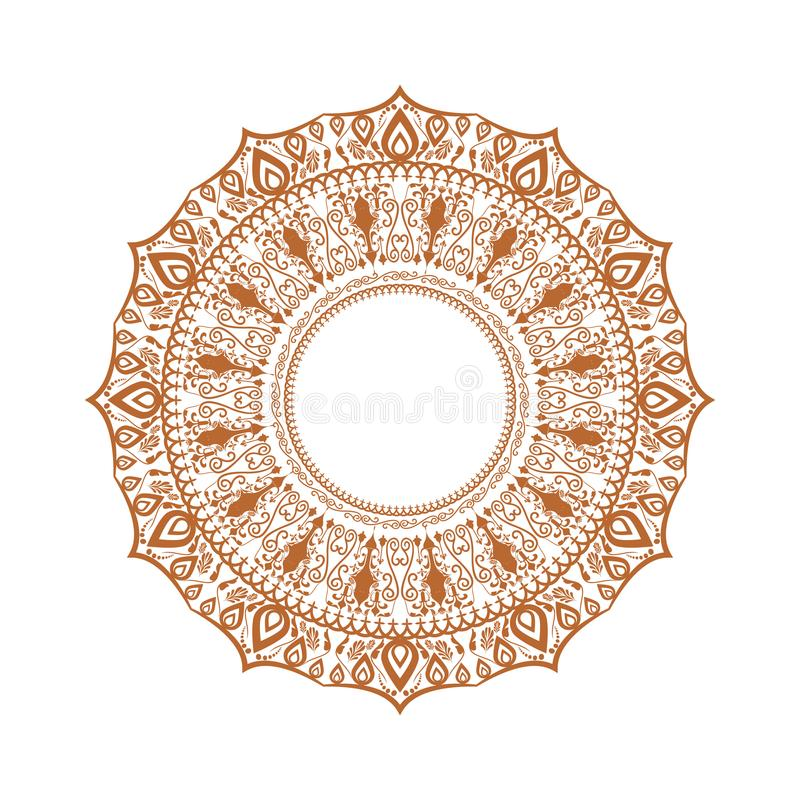 Ornamento feliz del diwali del rangoli Mandala ilustrada arriba detallada del círculo para su fondo Ilustración del vector stock de ilustración