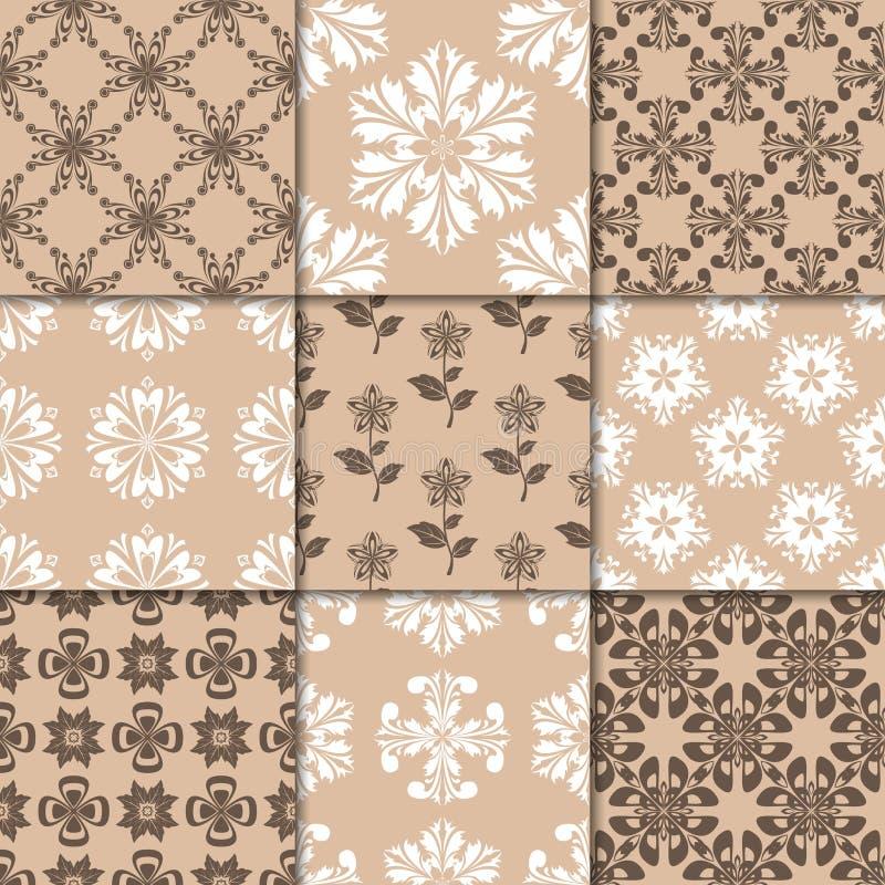 Ornamento florais bege de Brown Coleção de testes padrões sem emenda ilustração stock
