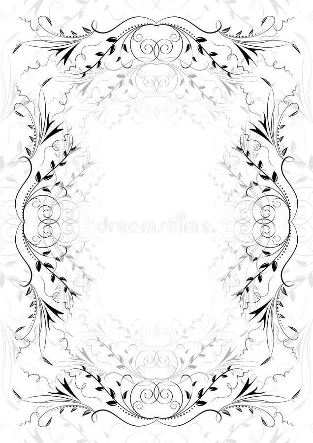 Ornamento floral abstracto en el fondo blanco stock de ilustración