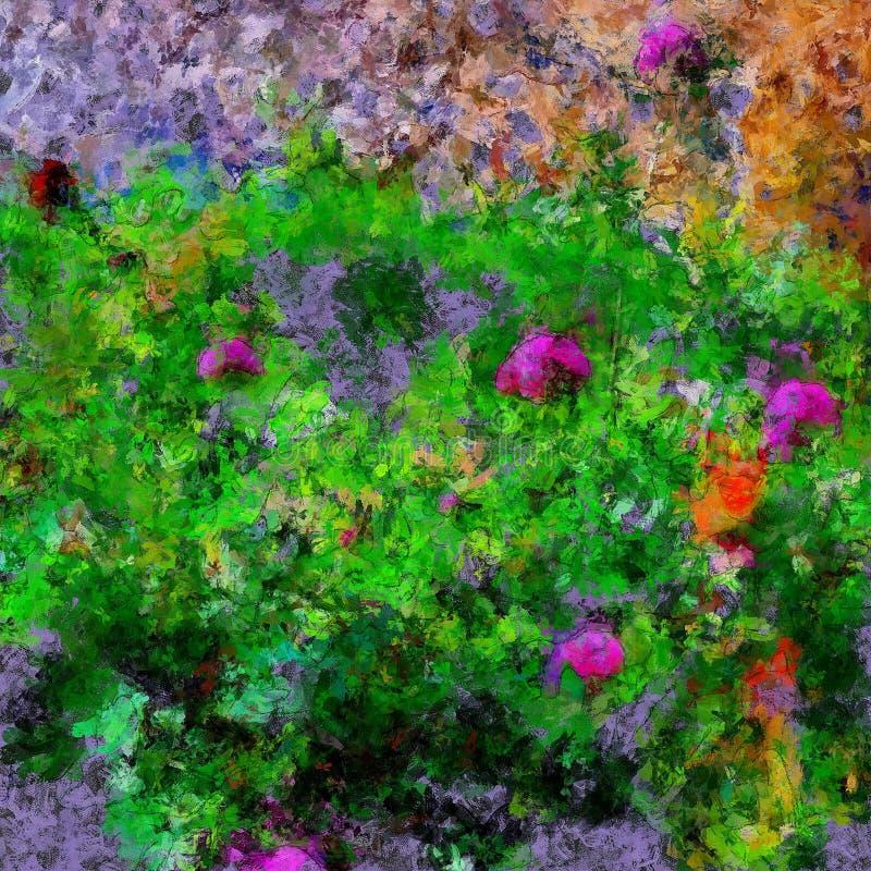 ornamento floral abstrato da pintura a óleo brilhante do colorfull ilustração stock