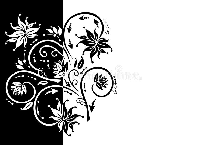 Ornamento floral abstrato em cores preto e branco ilustração royalty free
