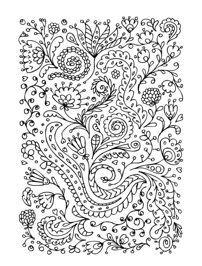 Ornamento floral, bosquejo dibujado mano para su diseño stock de ilustración