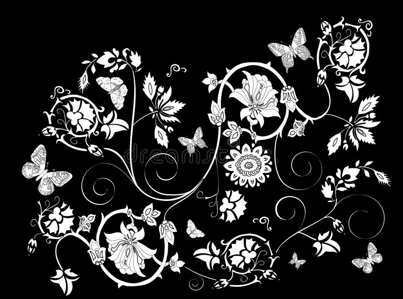 Ornamento floral branco no preto ilustração royalty free