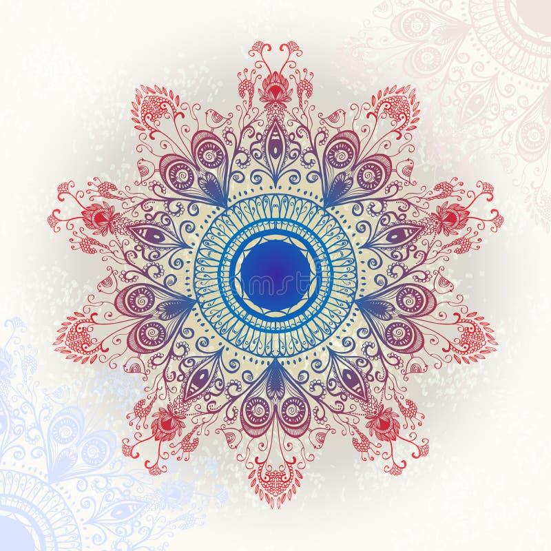 Ornamento floral circular brilhante ilustração royalty free