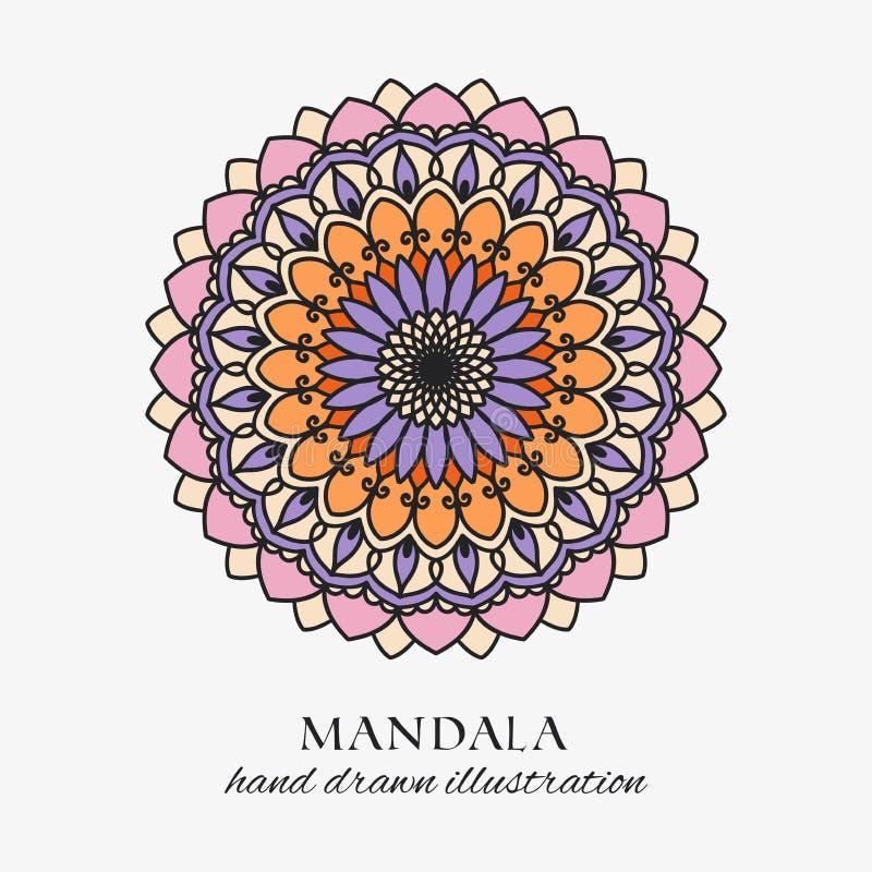Ornamento floral coloreado mandala de la ronda oriental Decoración exhausta de la mano colorida del vector stock de ilustración