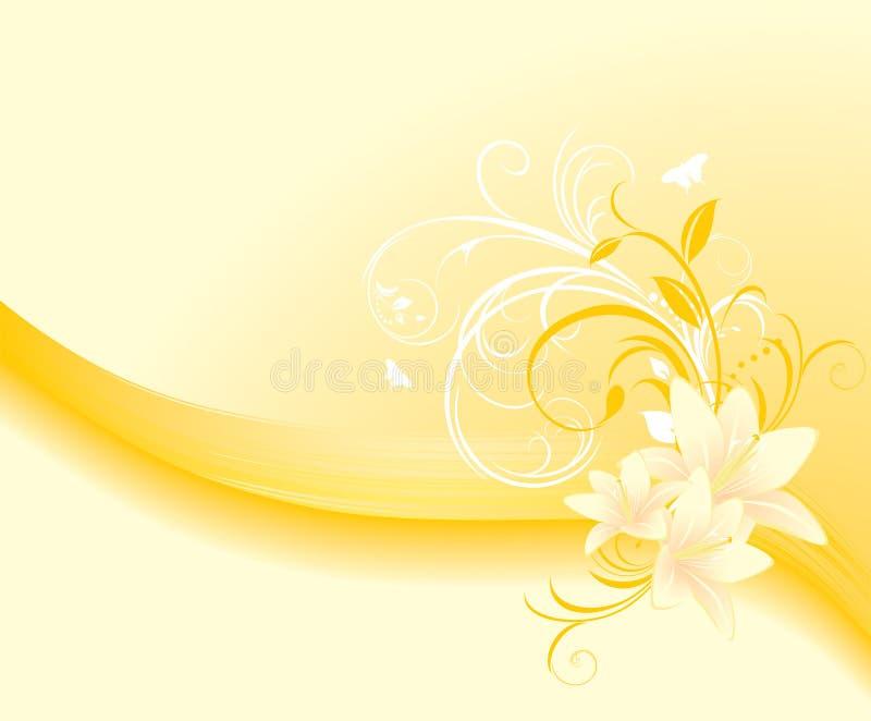Ornamento floral com lírios. Fundo ilustração royalty free